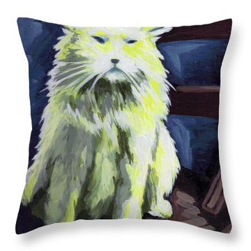 Old World Cat Throw Pillow