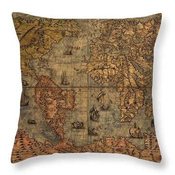 Old World Map Throw Pillow by Dan Sproul