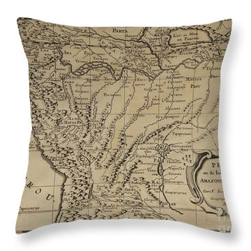 Old World Map Of Peru Throw Pillow by Inspired Nature Photography Fine Art Photography