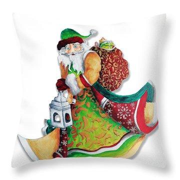 Old World Santa Christmas Art Original Painting By Megan Duncanson Throw Pillow by Megan Duncanson