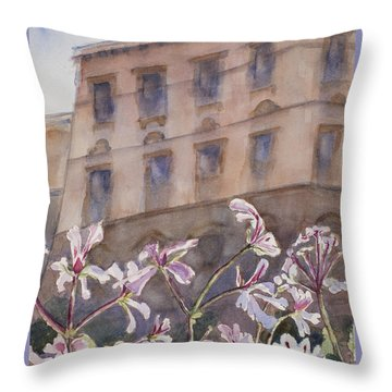 Old World Windowbox Throw Pillow by Mary Benke