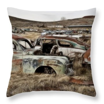 Old Wrecks Throw Pillow