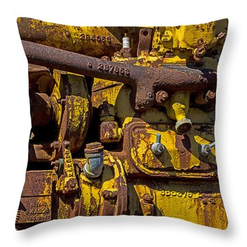 Old Yellow Motor Throw Pillow by Garry Gay