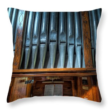 Throw Pillow featuring the photograph Olde Church Organ by Adrian Evans