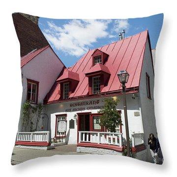 Oldest Restaurant In Quebec Throw Pillow