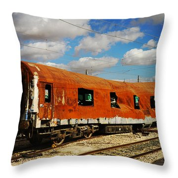 Oldie At Sidetrack Throw Pillow by Jenny Rainbow