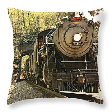Ole' #630 Steam Train Throw Pillow by Tammy Schneider