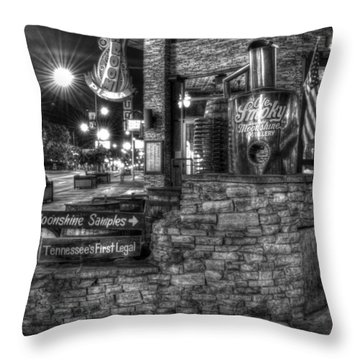 Ole Smoky Tennessee Moonshine In Black And White Throw Pillow by Greg and Chrystal Mimbs