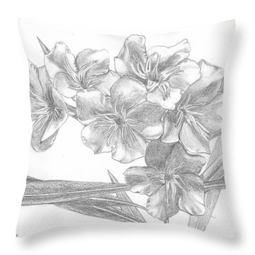 Oleander Throw Pillow by Lew Davis