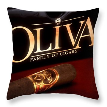 Oliva Cigar Still Life Throw Pillow by Tom Mc Nemar