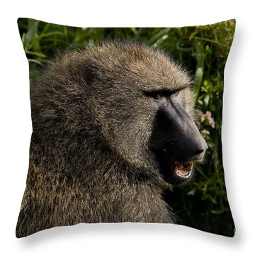 Olive Baboon   #0685 Throw Pillow by J L Woody Wooden