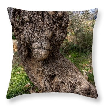 Olive Monster Throw Pillow