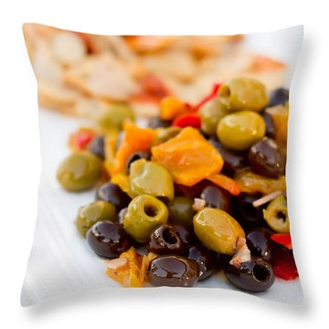 Olive Plate Throw Pillow
