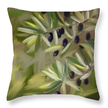 Olive Tree Throw Pillow by Go Van Kampen
