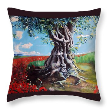 Olive Tree In A Sea Of Poppies Throw Pillow by Alessandra Andrisani
