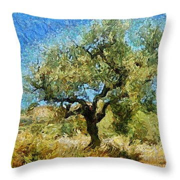 Olive Tree On Van Gogh Manner Throw Pillow by Dragica  Micki Fortuna