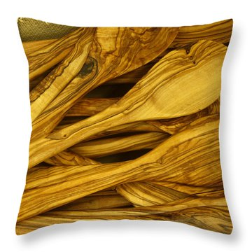 Olive Wood Throw Pillow
