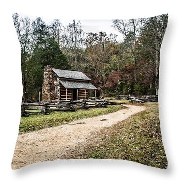 Throw Pillow featuring the photograph Oliver's Log Cabin by Debbie Green