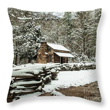 Throw Pillow featuring the photograph Oliver's Log Cabin Nestled In Snow by Debbie Green