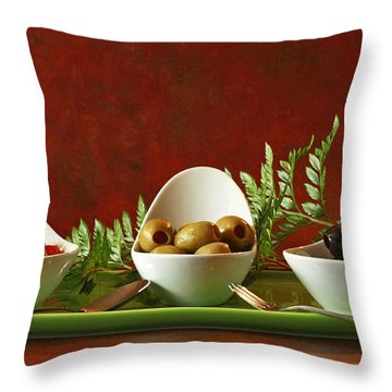Olives And Salsa Delight Throw Pillow by Inspired Nature Photography Fine Art Photography