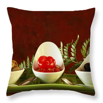 Olives Anyone Throw Pillow by Inspired Nature Photography Fine Art Photography
