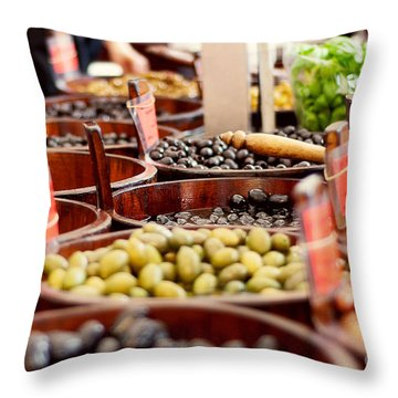 Olives In Barrels Throw Pillow by Ivy Ho