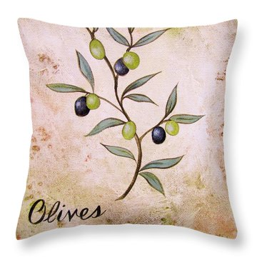 Olives Painting Throw Pillow