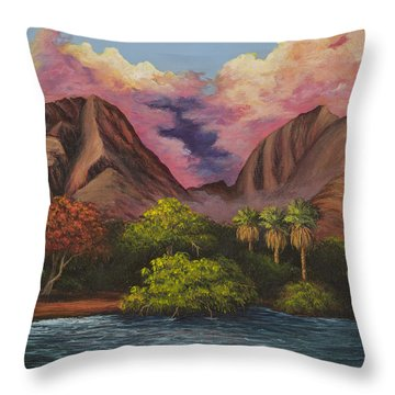 Throw Pillow featuring the painting Olowalu Valley by Darice Machel McGuire