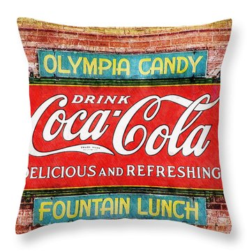 Throw Pillow featuring the painting Olympia Candy by Sandy MacGowan