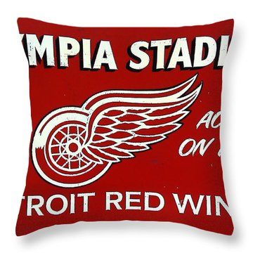 Olympia Stadium - Detroit Red Wings Sign Throw Pillow by Bill Cannon