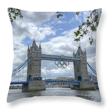 Olympic Rings On Tower Bridge Throw Pillow