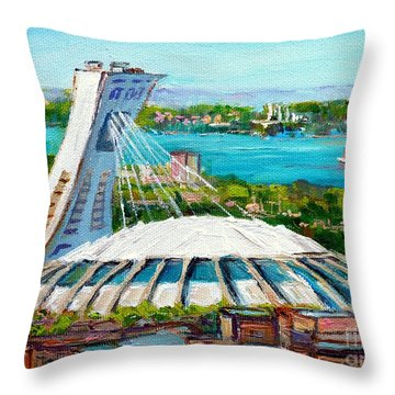 Olympic Stadium Montreal Painting Velodrome Biodome Heritage Art By City Scene Artist Carole Spandau Throw Pillow by Carole Spandau