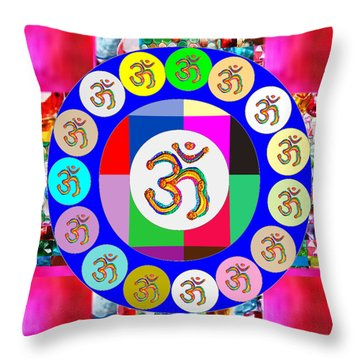 Om Mantra Dedication  Devotion Symbol Assembly By Artist N Reiki Healing Master Navinjoshi Throw Pillow by Navin Joshi