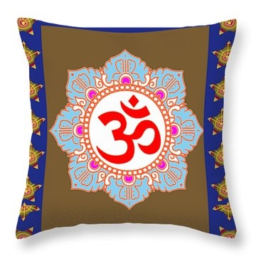 Throw Pillow featuring the photograph Om Mantra Ommantra Chant Yoga Meditation Tool by Navin Joshi