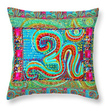 Om Mantra Ommantra Symbol Yoga Meditation Spiritual Work Throw Pillow by Navin Joshi