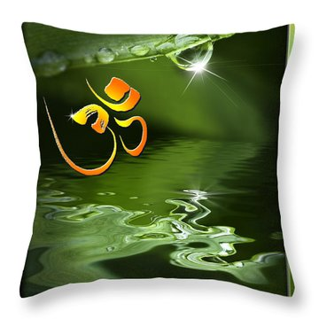 Throw Pillow featuring the mixed media Om On Green With Dew Drop by Peter v Quenter