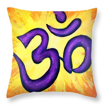 Om Symbol Art Painting Throw Pillow by Bob Baker