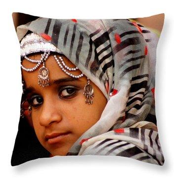 Omani Girl Throw Pillow by Debi Demetrion