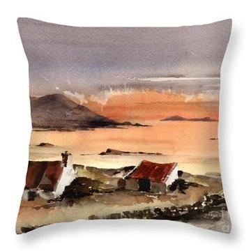 Omey Island Sunset Galway Throw Pillow