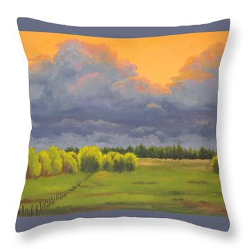 Ominous Forecast Throw Pillow by Nancy Jolley