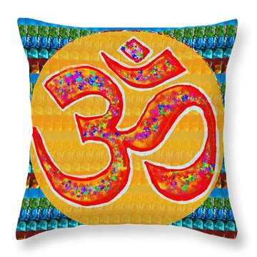 Ommantra Om Mantra Chant Yoga Meditation Spiritual Religion Sound  Navinjoshi  Rights Managed Images Throw Pillow by Navin Joshi