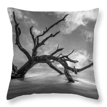 On A Misty Morning In Black And White Throw Pillow by Debra and Dave Vanderlaan