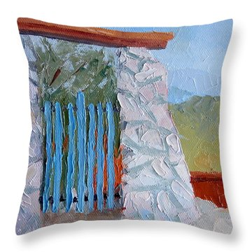 On A Mountain Throw Pillow by Susan Woodward