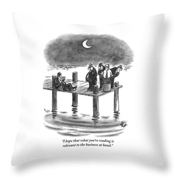 On A Pier, Three Mobsters Prepare To Drown Throw Pillow
