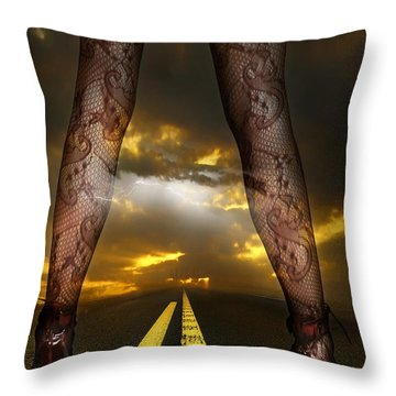 On A Road Throw Pillow by Svetlana Sewell