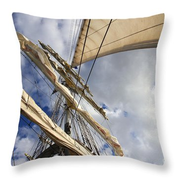 On A Sail Ship Throw Pillow