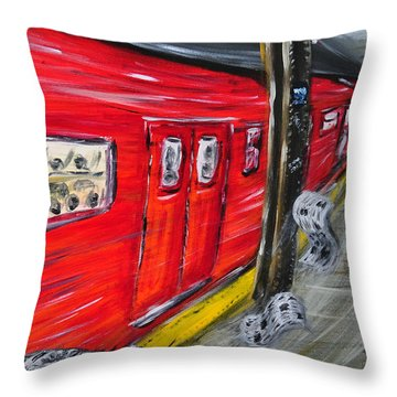 On A Subway Platform Throw Pillow by Ka-Son Reeves