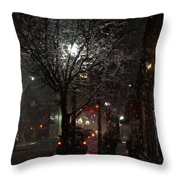 On A Walk In The Snow - Grants Pass Throw Pillow by Mick Anderson