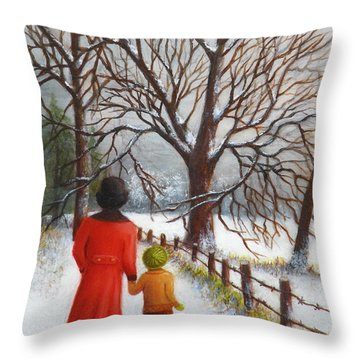 On A Wintry Walk With Gran Throw Pillow