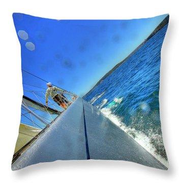On Board Alfa Romeo During A Test Sail Throw Pillow